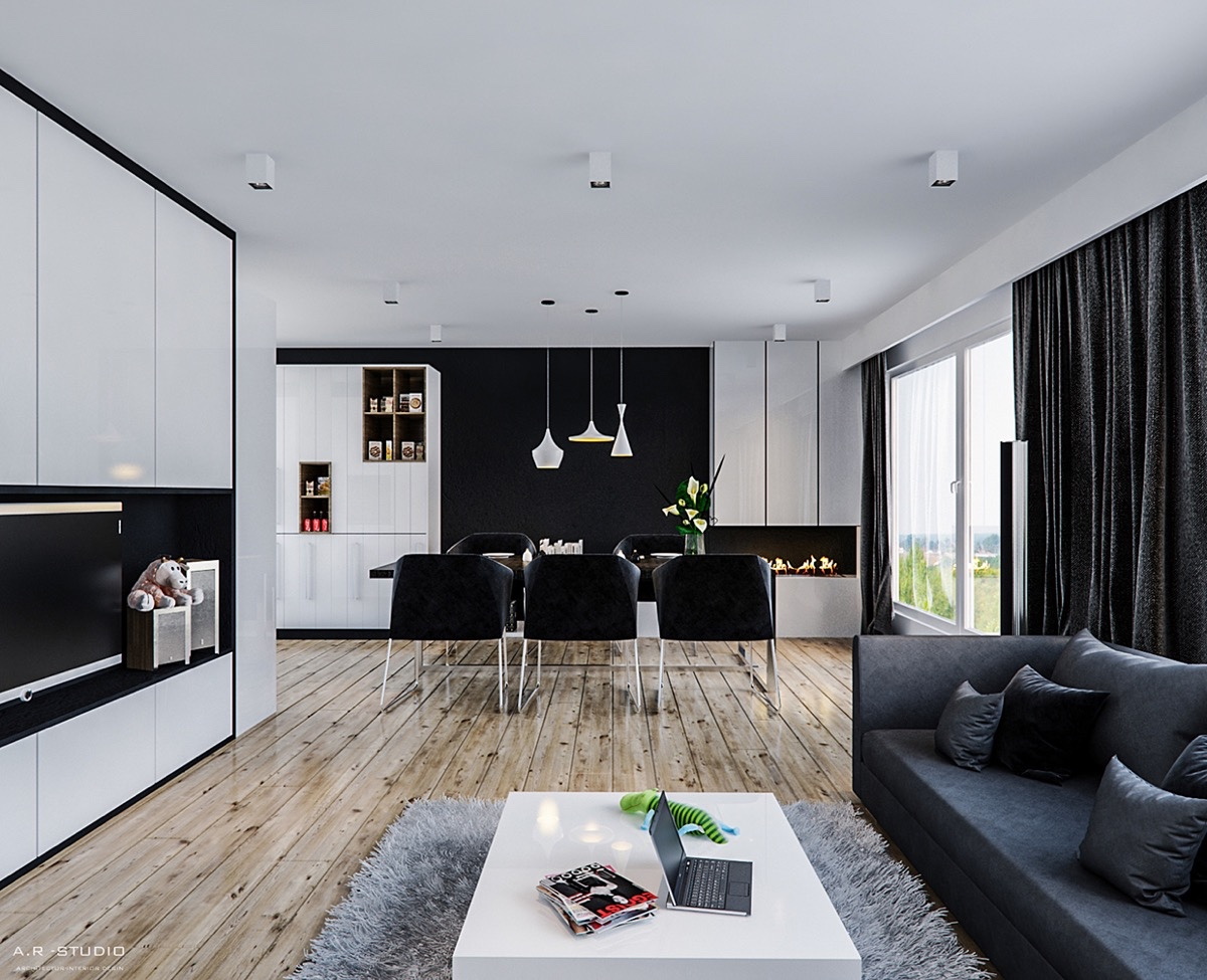 beat-lighting-open-fireplace-black-and-white-dining-room