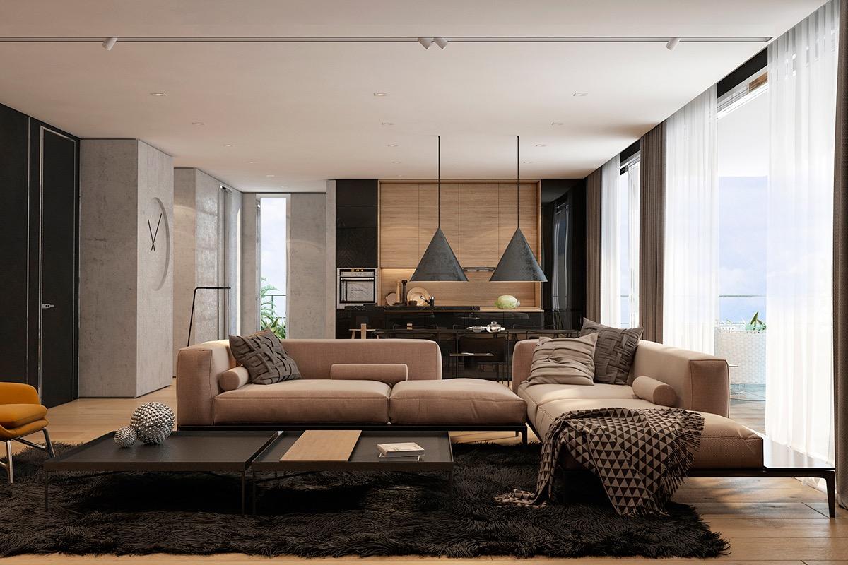 beige minimalist living room