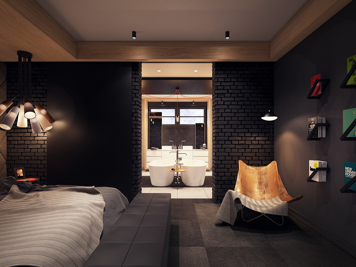 black-bricks for dark bedroom
