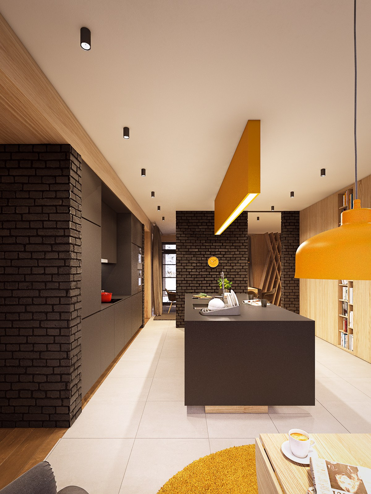 brick-and-wood kitchen design
