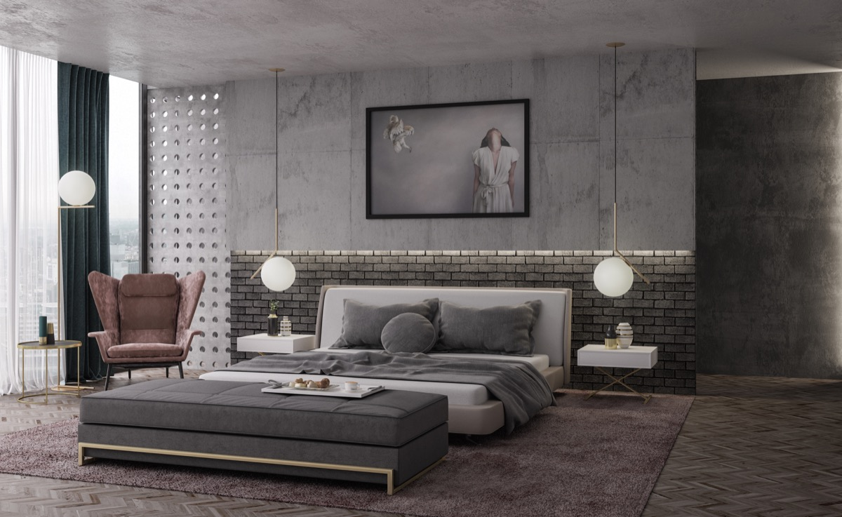 Cement Accent Wall : Beautiful bedrooms with creative accent wall ideas looks