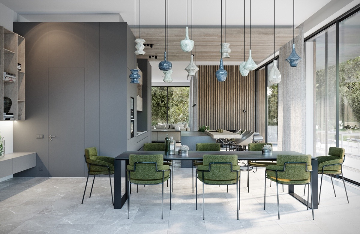 creative-dining room with green chairs