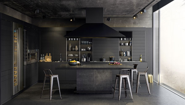 dark-kitchen-charcoal-painted-with-open-shelves