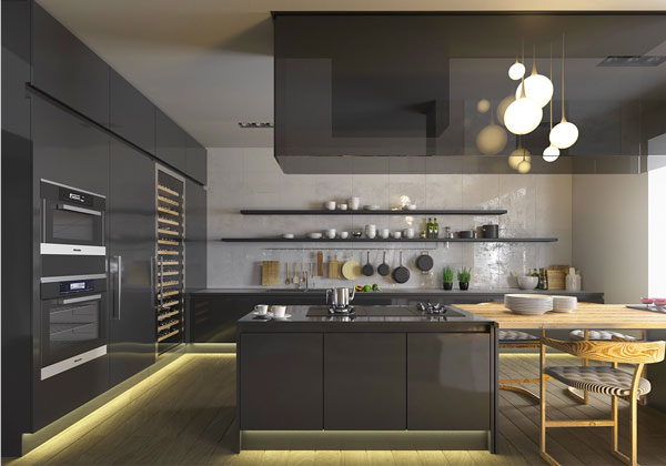 dark-kitchen-design-with-open-shelving