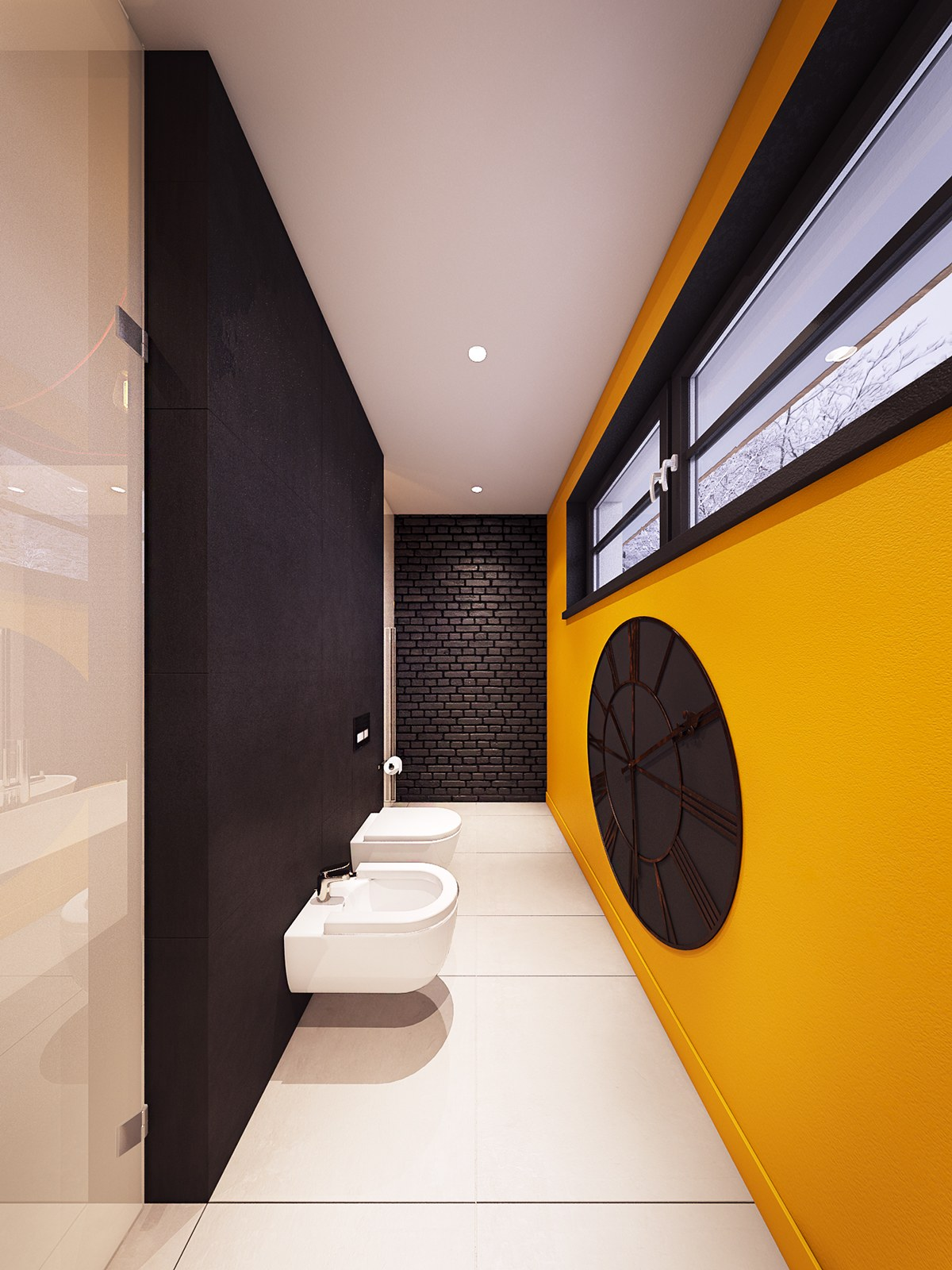 dark yellow trendy bathroom