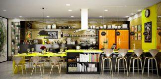 open kitchen shelving for sleek kitchen
