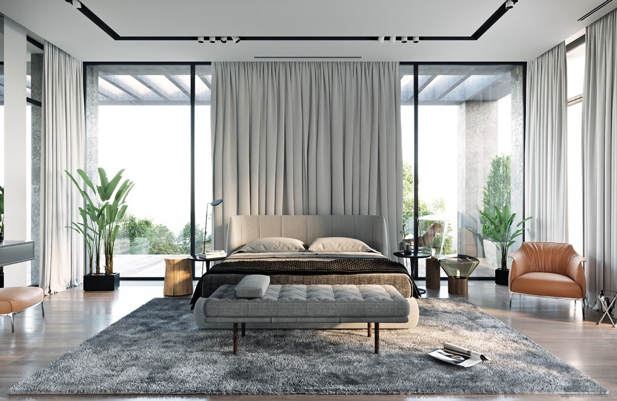 gray modern bedroom-with-indoor-plants