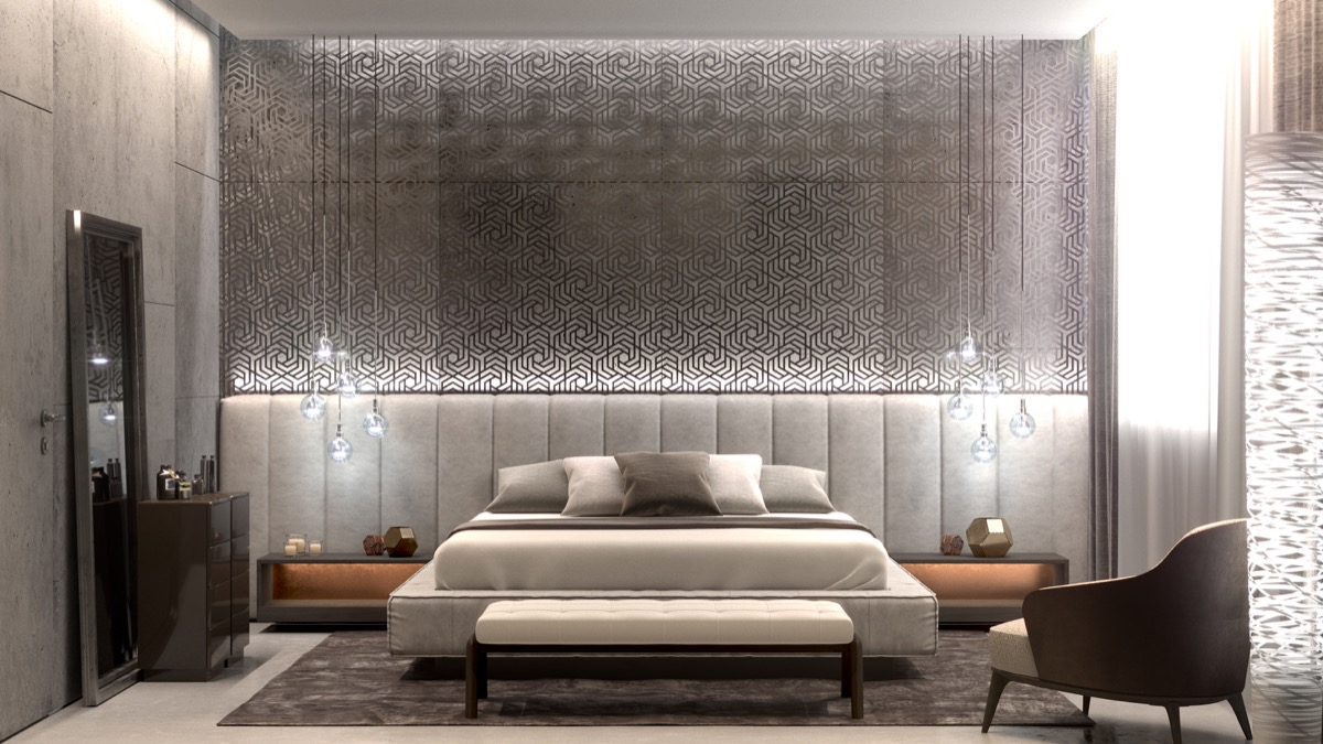 inspiring-modern-bedroom geometric wall accent