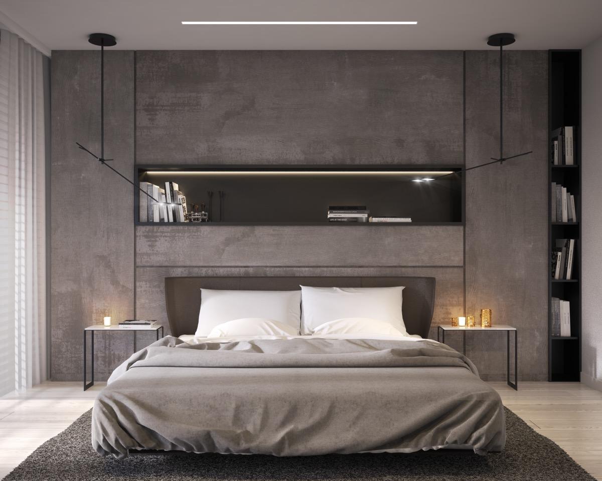 Minimalist Concrete Bedroom Wall