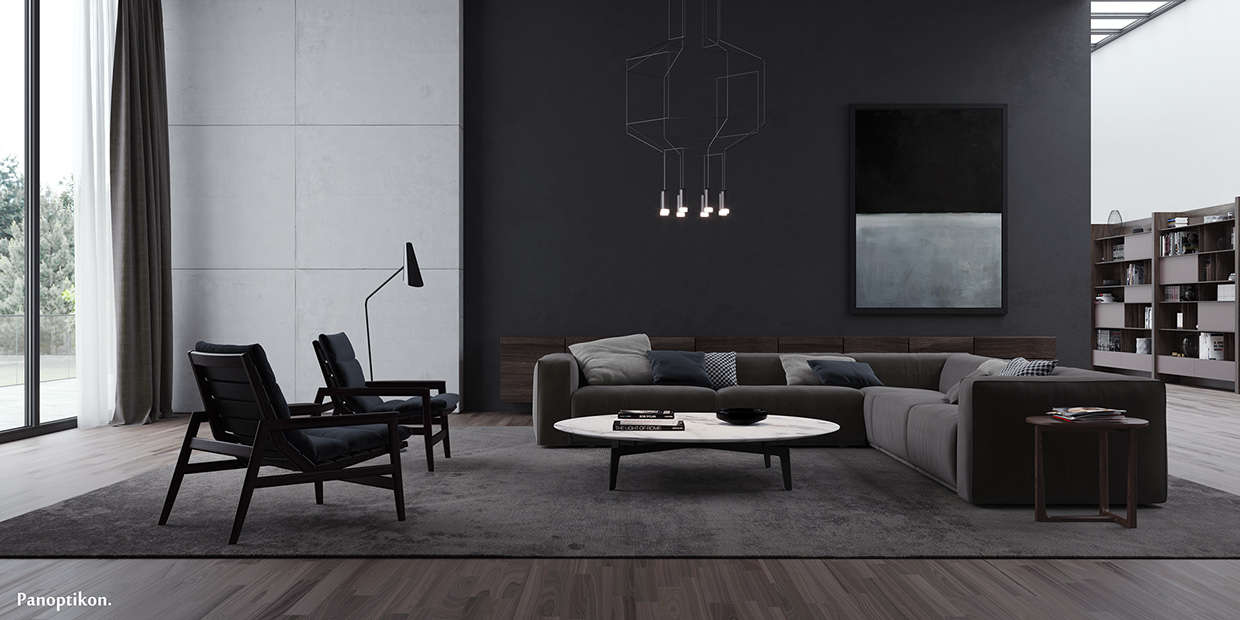 modern minimalist dark living-room