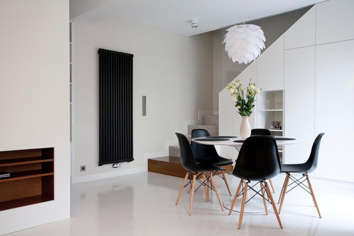 minimalist dining with beautiful lighting