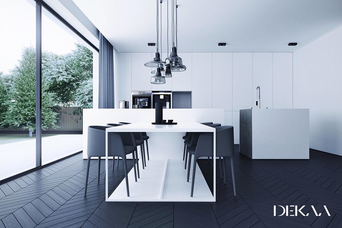 minimalist monochrome dining room