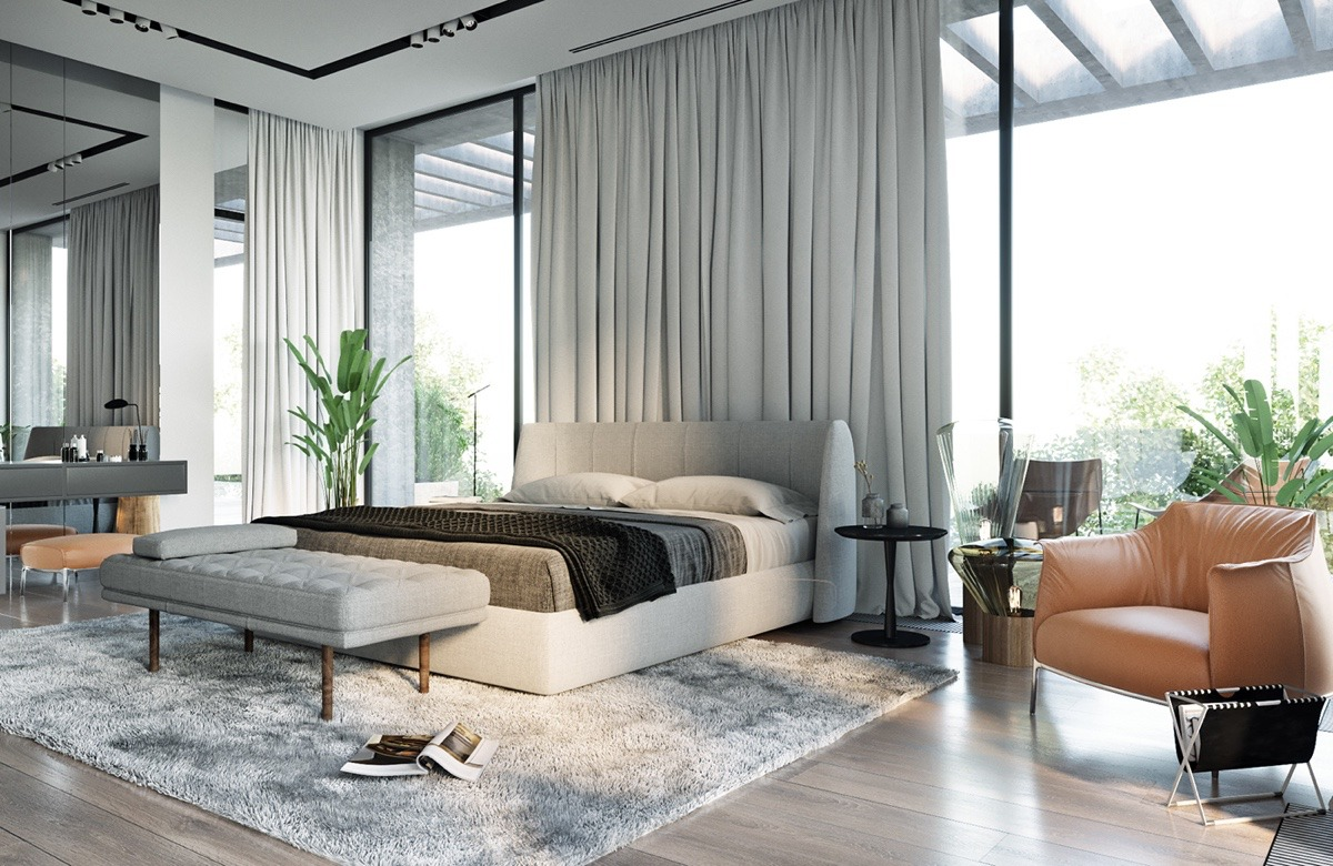 modern bedroom with natural light