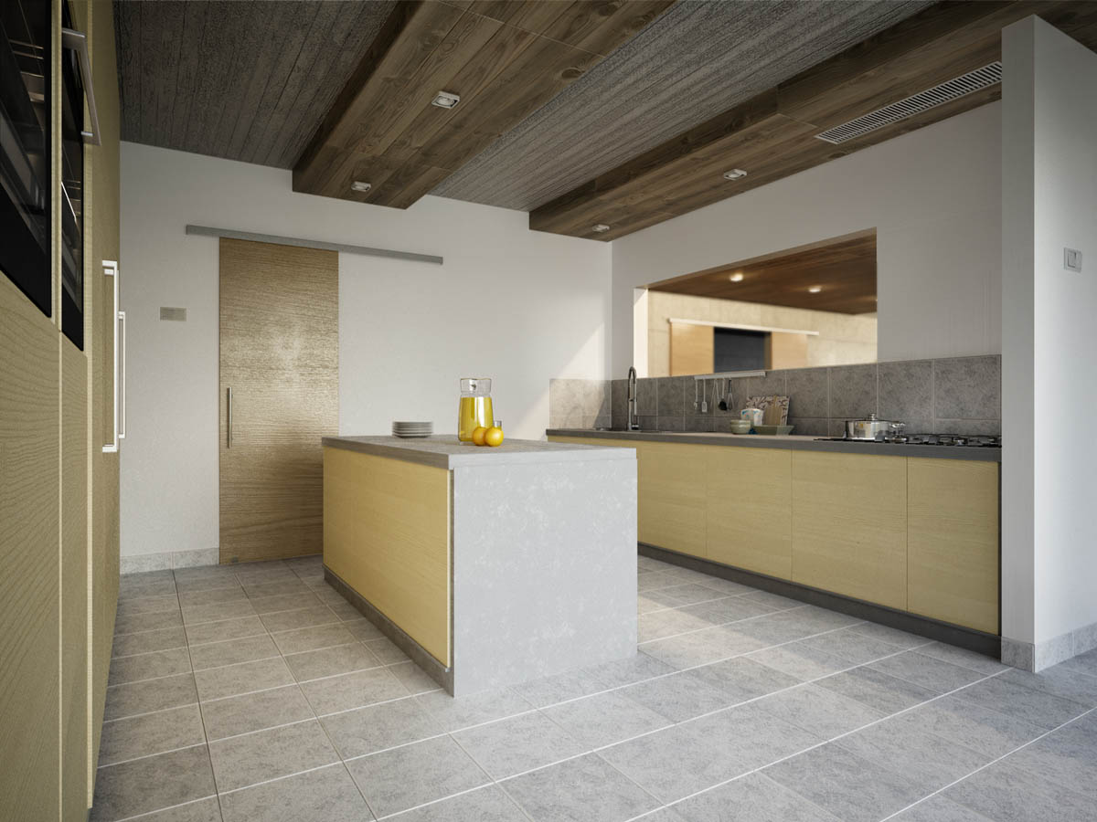 modern-kitchen-island with wooden ceiling