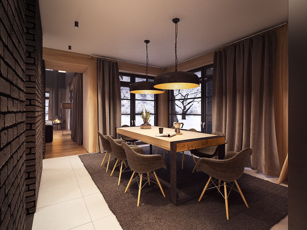 modern brick dining room