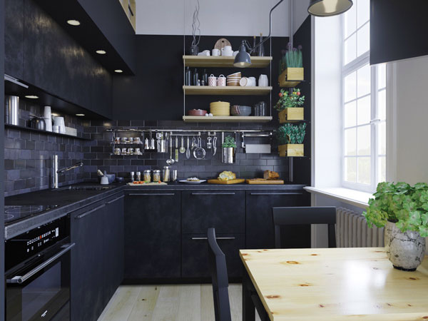 open-shelving-kitchen-black-tiles-textured-panels