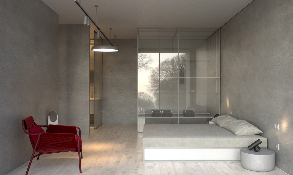 simple modern concrete bedroom