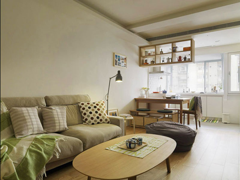 Simple small apartment design looks stylish with open for Simple apartment plans