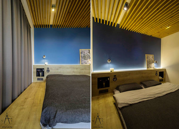 small-bedroom-with-blue-walls-and-wood-ceiling-design