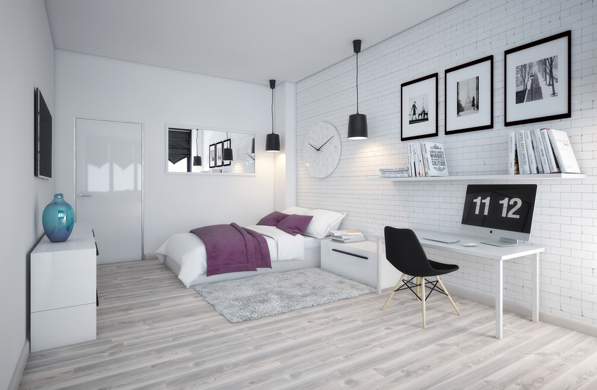 white and brick bedroom concept