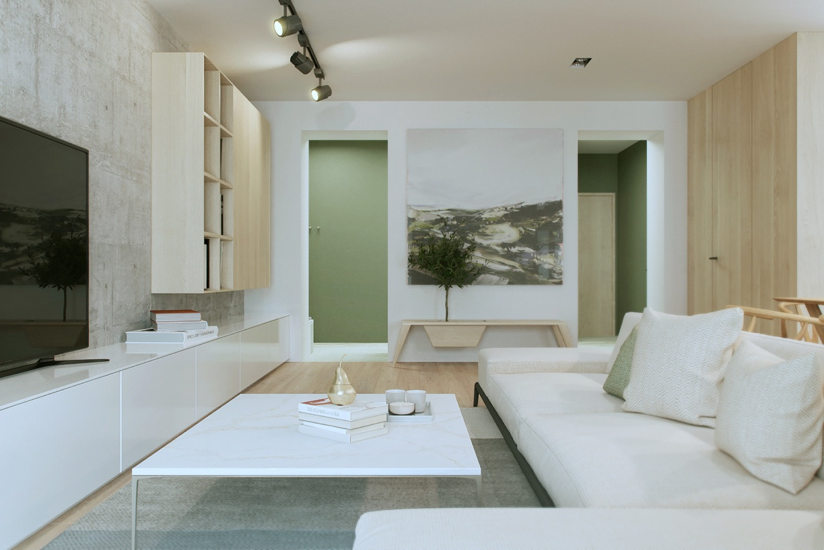 white and concrete living design