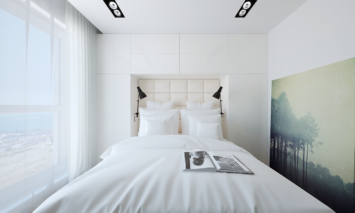 white-bed with artistic decor
