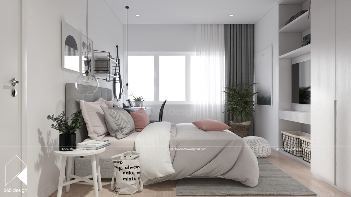 white-bedroom with modern Scandinavian style