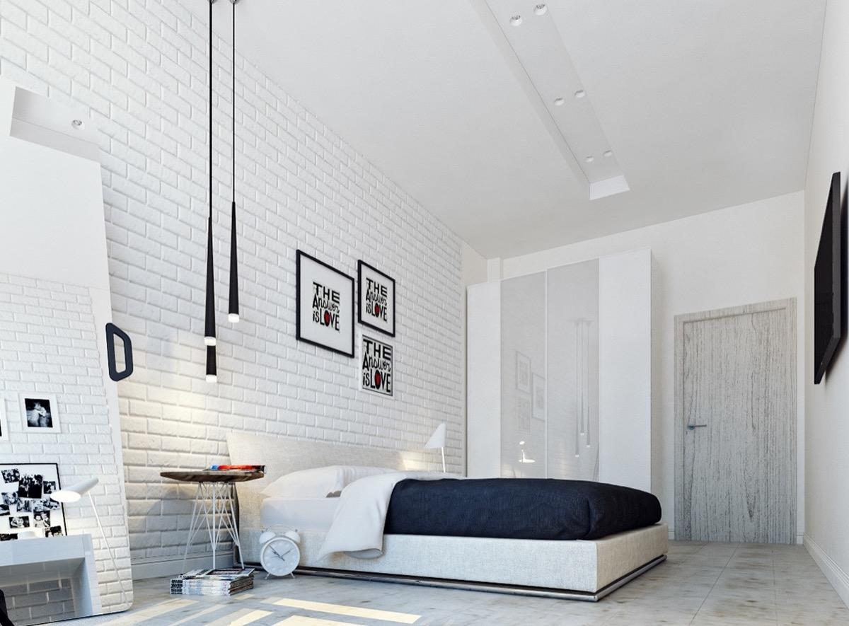 white-brick-wall bedroom decor