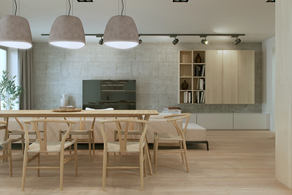 Scandinavian wood dining room design