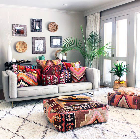 Bohemian furniture design for small living room