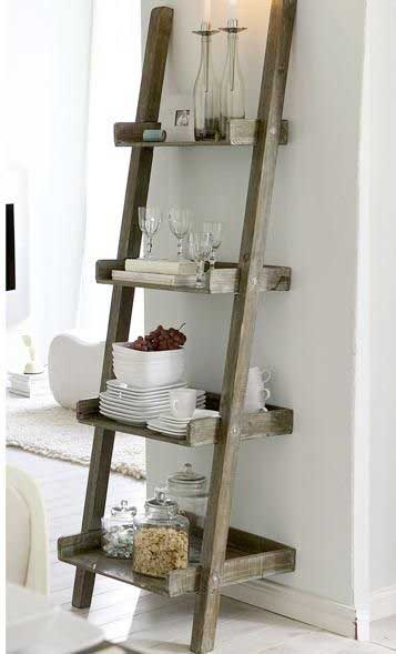 brown ladder shelf
