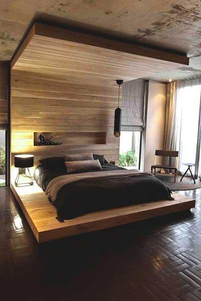 elegant wooden bedroom