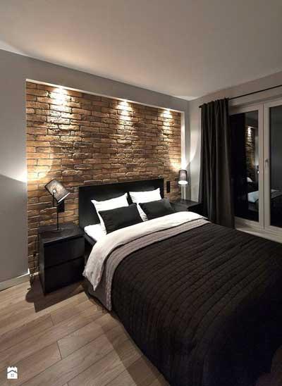 modern brick wall bedroom