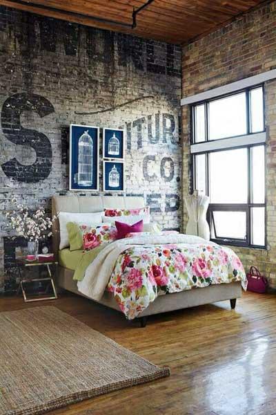 murals brick wall bedroom