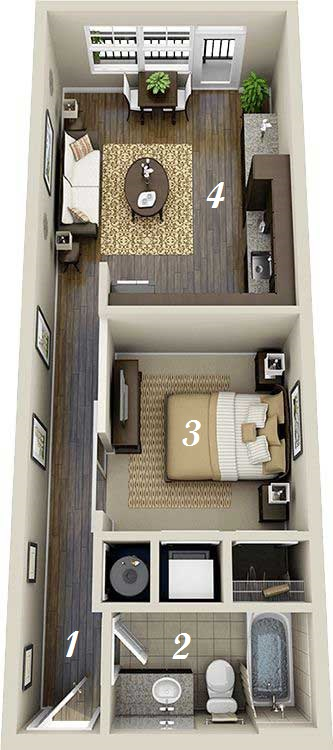 rectangular apartment design plan
