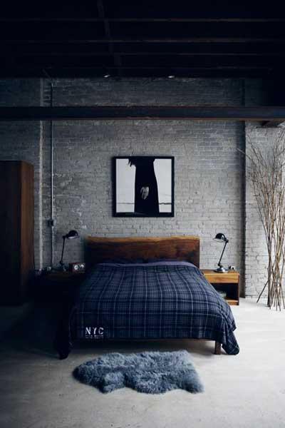 simple brick wall bedroom