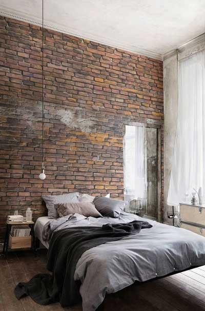 urban brick wall bedroom