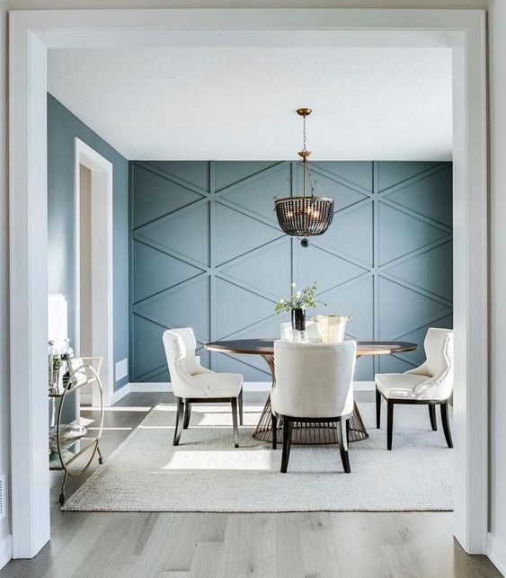 moulding wall accent for simple minimalist dining room