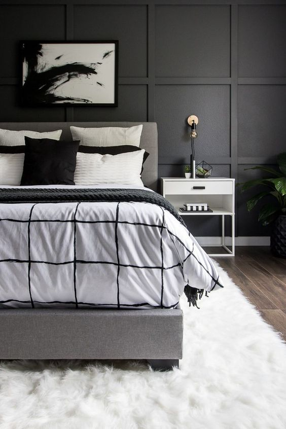black and white bedroom with simple decor
