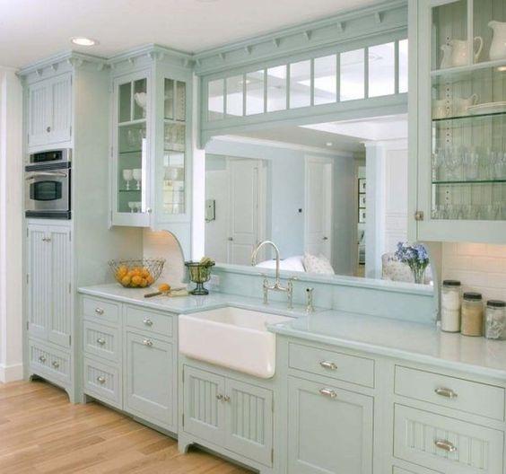 Dresden Blue Cabinet for Coastal Kitchen Design