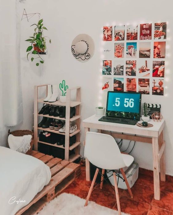 Teenager Bedroom with Stickable Photos Tiles