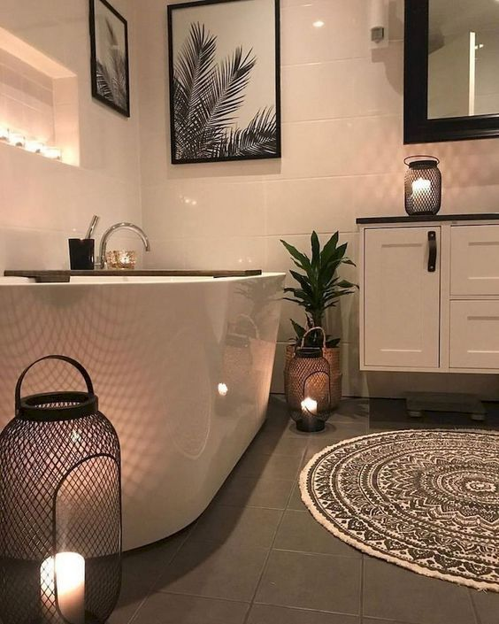 warm black and white bathroom
