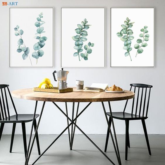 green botanical leaves painting for wall dining room