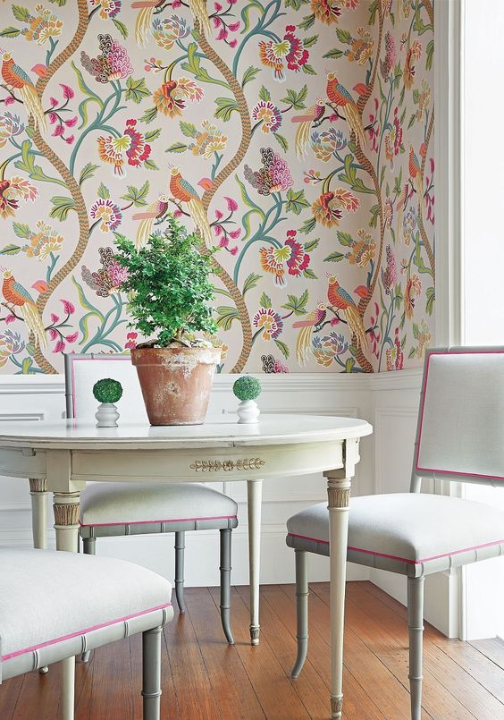 beautiful minimalist dining room with beautiful and fresh wallpaper
