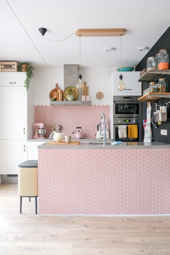 mature look pink kitchen