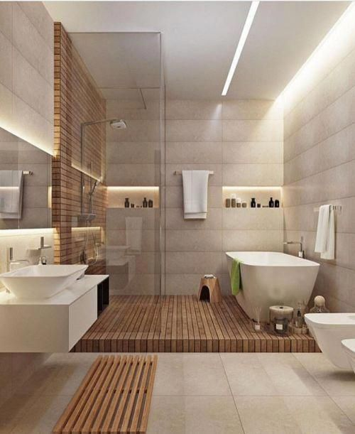 Wood Elements Presenting The Warm Atmosphere into The Bathroom
