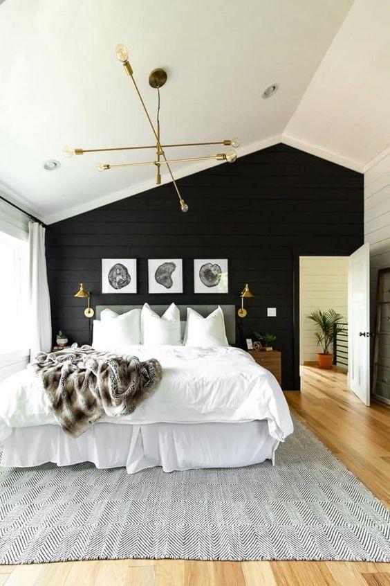 bright black and white bedroom idea
