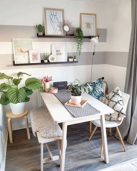Interesting Dining Room with Bench Decoration