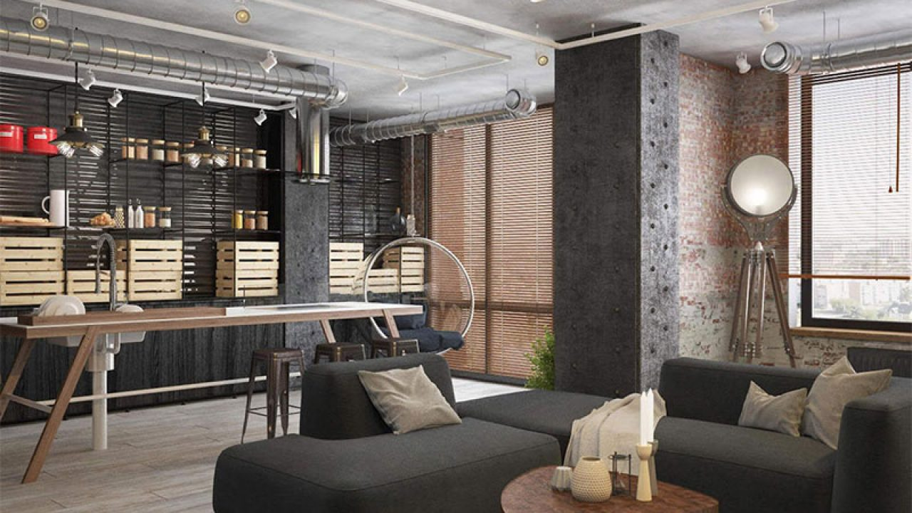 Bringing The Mature Look To The Apartment With Industrial Design Roohome