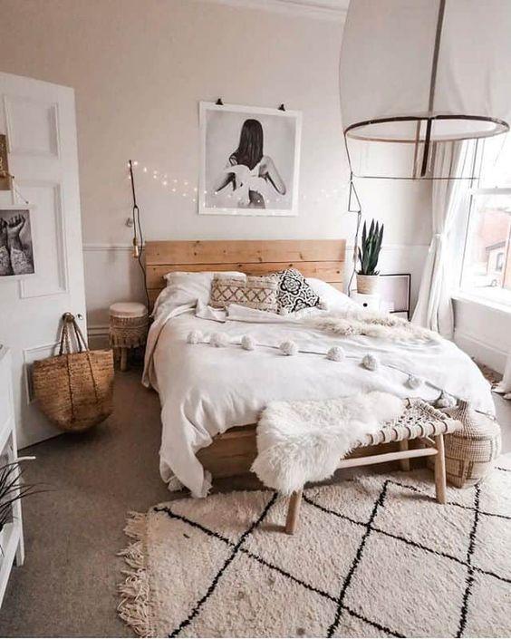 beautiful scandinavian bedroom with rug